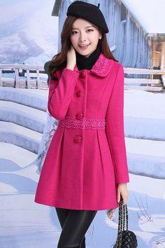 Feminine Solid Wool Coat