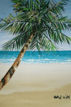 Day at the Beach painting with a Palm tree 5 by MARVINSTUDIO, $5.20