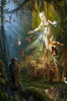 Fairy of the the animals fantasy art. Fairy Pictures, Fantasy Pictures, Magical Creatures, Fantasy Creatures, Woodland Creatures, Fairy Dust, Fairy Tales, Elfen Fantasy, Love Fairy