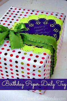 Birthday Paper Doily Tag from SewWoodsy.com #12MonthsOfMartha