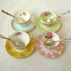 Instant Tea Party Set  of 4 Floral Vintage English China Tea Cups and Saucers Collection for Alice in Wonderland Party or Mad Hatter Tea by hollie