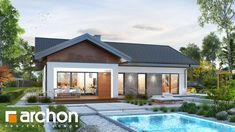 Dom w żonkilach 2 House Layout Plans, House Layouts, House Plans, Living Room Trends, Past, Pergola, House Design, House Styles, Outdoor Decor