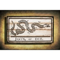 Join or Die / Distressed Wood Flag #American-Line #Wood-Flags-+-Crabs