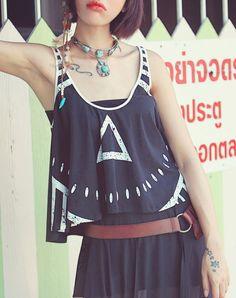 #AdoreWe Aporia. AS Modern Black Asymmetric Cotton-blend Sleeveless Tank - AdoreWe.com
