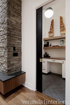 hicks pendant + herringbone floor + wood floating shelves in desk space