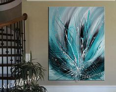 Abstract LARGE Artwork paintings Teal Turquoise, Emerald on Canvas, Modern Art, Original Contemporary Art Oversize Dallas Artist Blue Artwork, Artwork Paintings, Large Artwork, Jackson Pollock Art, Large Painting, Painting Abstract, Texture Art, Contemporary Art, Modern Art