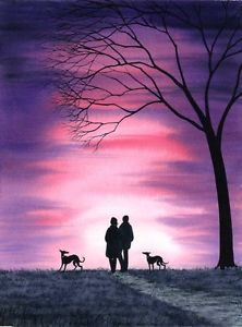 A Giclee Print from an Original Watercolour & Ink Painting by Internationally Collected Artist: Dianne Heap. The Artist uses only High Quality Materials. True Vibrancy of Colours & Detail may differ with individual monitors. Dog Canvas Painting, Dog Paintings, Ink Painting, Silhouette Pictures, Dog Silhouette, Whippet Puppies, Whippets, Artist Shed, Greyhound Art