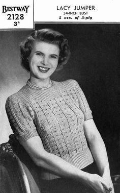 Vintage Ladies Lacy Jumper Knitting Pattern 1950 by LittleJohn2003