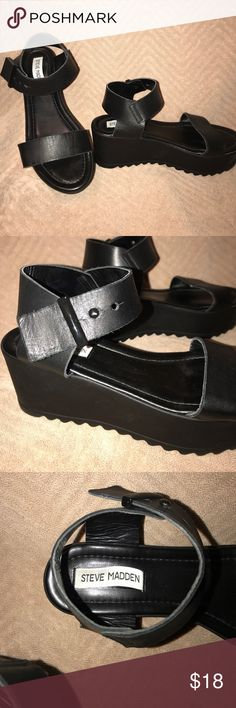 Black platform sandals Black leather Steve Madden sandals. Size 8 women's/38. Made in Italy. Gently used worn approximately 4 times. Steve Madden Shoes Sandals