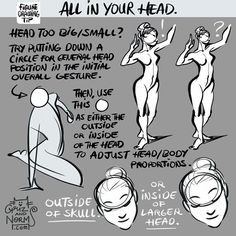 "Tuesday Tips - All In Your Head Do you ever feel like you've just ruined a figure drawing by drawing the head too big or too small and it looks all weird? Here's something I realize I've been doing. While I'm doing a quick full body gesture, I put down a circle for the head position. Once I figured out the body, loosely, I go back and draw the head over the circle, using it as either the ""outer"" edge or ""inner"" foundation of a larger head, depending on the appropriate proportions needed…"