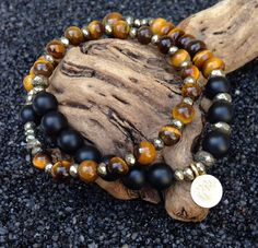 Black & Brown EYE of the TIGER Double Wrap Mala Bracelet by FTSoul www.FTSoul.etsy.com