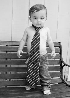 Toddler Boy with Daddy's Tie. . . adorable!