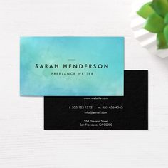 Minimalist Modern Blue Watercolor Business Card - Check out this business card. You can't find this design at your local printer. Premium Business Cards, Salon Business Cards, Artist Business Cards, Minimalist Business Cards, Unique Business Cards, Professional Business Cards, Modern Minimalist, Business Card Design, Watercolor Business Cards