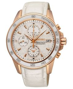Seiko Watch, Women's Chronograph Sportura White Leather Strap 38mm SNDX98 - Women's Watches - Jewelry & Watches - Macy's