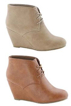 63d33ae6cdc8 Sally Lace-Up Faux Leather Wedge Bootie Shoe Closet
