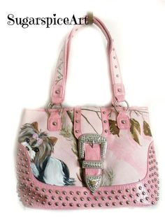 Biewer Parti Yorkie Camo Hand Painted Tote Bag Handbag dog art by SugarspiceArt