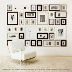 Black and white mixed sixed frames on a wall