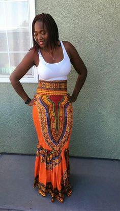 Dashiki High Waist Ankara Mermaid Mixi Skirt Ghanaian Fashion Wax Print Africa Summer Fashion African Fashion Skirts, Ghanaian Fashion, African Print Fashion, Skirt Fashion, Ankara Fashion, African Prints, Women's Fashion, African Dress Patterns, African Print Skirt