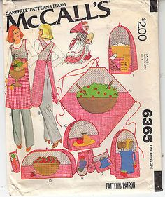 Apron Wrap Cross Back Kitchen Accessories Vtg McCalls Pattern 6365 Covers Witch