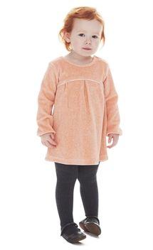 BABY VELOUR DRESS - COLOR PEACH RIFLE VELOUR FABRIC
