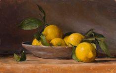 Still life with lemons  | A still life painting by British Artist Julian Merrow-Smith