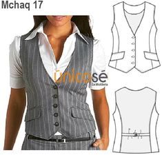CHAQUETA SIN MANGAS(GILLET), FORRO INTERIOR, BOLSILLOS TAPETA EN DELANTERO. Diy Clothing, Clothing Patterns, Dress Patterns, Sewing Patterns, Jacket Pattern, Sewing Techniques, Sewing For Kids, Fashion Outfits, Womens Fashion