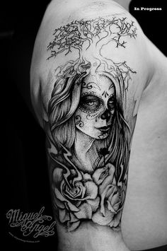 dead women tatoo;s | Day of the death women, tree, roses and eye custom tattoo