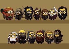 """The dwarves from """"The Hobbit"""" and Minions - two of my favorite casts of characters combined! Love it!"""