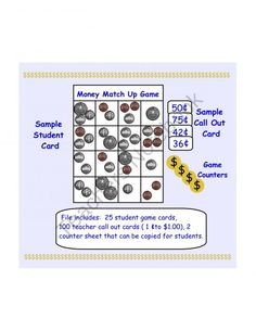 Money Match Up Game US Coins  from Teaching The Smart Way on TeachersNotebook.com (30 pages) 3rd Grade Math, Grade 3, Student Games, Teacher Notebook, Back To School, School Stuff, Up Game, Us Coins, Kids Learning