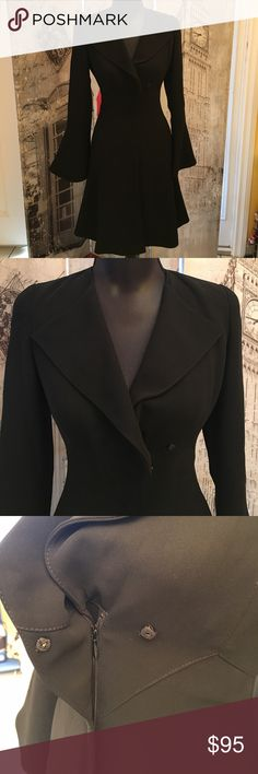 Emporio Armani formal black dress Emporio Armani formal black dress double breasted with one button at the top with a front zipper designed for business or formal occasion sleeves have a flair to them size 4 Emporio Armani Dresses Long Sleeve