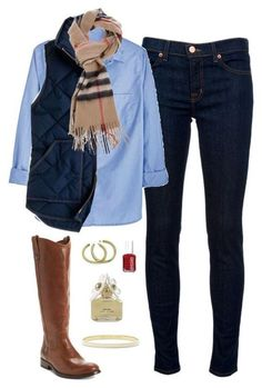 #winter #outfits / chambray shirt + quilted vest #womenoutfits