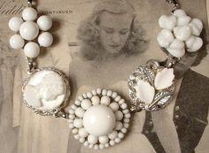 Vintage White Milk Glass Silver Bridal Bracelet, Heirloom Cluster Earring Bracelet OOAK Heirloom. $39.99, via Etsy.