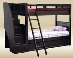Shop the Dillon Gray Full Size Bunk Bed with Stairway storage for kids room. Sturdy convertible full over full bunk bed in black, blue, white, and espresso. Bunk Bed With Stairs And Storage, Stairway Storage, Bunk Beds Built In, Wood Bunk Beds, Modern Bunk Beds, Twin Bunk Beds, Storage Stairs, Ladder Storage, Twin Twin