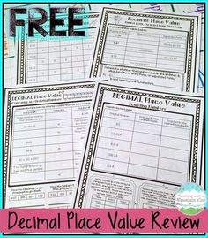 FREE Decimal Place Value Review Printables!