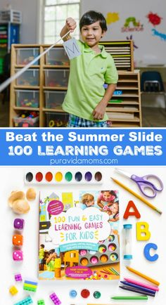 Summer is here- and if you are anything like me, you are looking for fun and easy ways to keep your kids stimulated. These 100 easy kid's activities will beat the summer slide and are easy on the bank! Spanish Activities, Educational Activities, Summer Activities, Preschool Activities, Learning Games For Kids, Learning Through Play, Teaching Kids, Preschool Books, Toddler Preschool