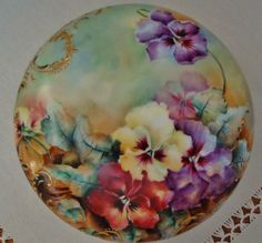 Antique Limoges France Hand Painted Porcelain Powder Box ~Pansies~