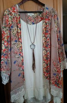 Floral Fantasy Kimono Top Jacket Crocheted Lace Trim Taupe Floral Print Plus Size XL/1XL   1XL/2XL
