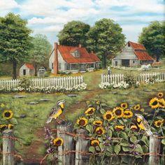 Landscape Paintings Sunflower Art, Summer Cottage Folk Art Prints, Meadowlark Farm House Fence Old Barn Arie Taylor Backyard Fences, Farm Fence, Rustic Fence, Brick Fence, Front Fence, Fence Landscaping, Farm Barn, Pool Fence, Fence Gate