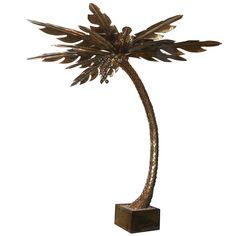 Monumental French Brass Palm Tree Floor Lamp Attributed to Maison Jansen | From a unique collection of antique and modern floor lamps  at https://www.1stdibs.com/furniture/lighting/floor-lamps/