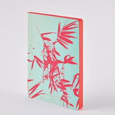 Notebook Colour Clash L Light - Bamboo: suited for bullet journaling - recycled leather - silk screen print neon pink - neon effect. Screen Printing Process, Silk Screen Printing, Sewing Binding, L And Light, Recycled Leather, Cover Design, Mint Green, Bamboo, Notebook