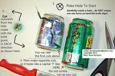 """Tutorial: How To SAFELY Cut Up Aluminum Cans : j'essaie avec la canette COCA """"pied de poule"""" ?"""