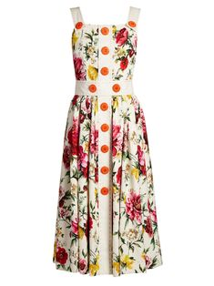Floral-brocade button-detail midi dress | Dolce & Gabbana | MATCHESFASHION.COM