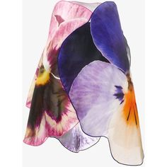 Christopher Kane 3D Pansy Skirt (289.375 HUF) ❤ liked on Polyvore featuring skirts, high waisted skirts, christopher kane, purple high waisted skirt, multi colored skirt and scallop hem skirt