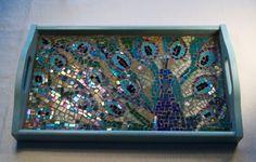 Peacock Mosaic Tray by ButterflyMosaicsUK on Etsy, £185.00