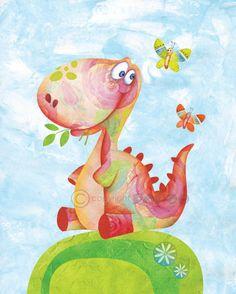 Dinosaur, Childrens Art Print, 8x10, Cute Dinosaur, Little Dinosaur, Nursery Art Print, Baby Room Decor, Nursery Decor