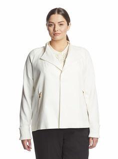 48% OFF Calvin Klein Women's Plus Short Flyaway Jacket (Ivory)