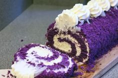 How to Make a UBE Roll Cake? - Cook Me Foods Ube Cake Roll Recipe, Cake Roll Recipes, Rolls Recipe, Sweet Bakery, Chiffon Cake, Yummy Cakes, 18th, Goodies, Cooking Recipes