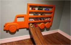 Closet-to-playspace after - matchbox car ramp from floor plank  niko so needs this