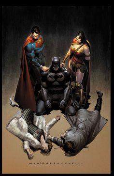 Trinity - Batman, Superman, and Wonder Woman by Clay Mann * Dc Rebirth, Batman Vs Superman, Batman Art, Marvel Vs, Personnage Dc Comics, Batman Kunst, Dc Trinity, Batman Wonder Woman, Wonder Women
