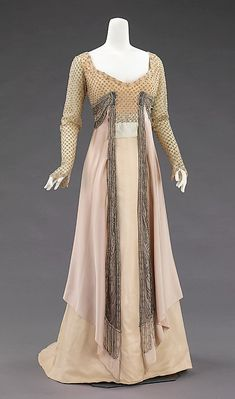Dress, Evening 1907-1910  House of Worth  (French, 1858–1956)  This dress seems a little early for its time, most dresses of this silhouette wouldn't come into fashion until the 1910's.
